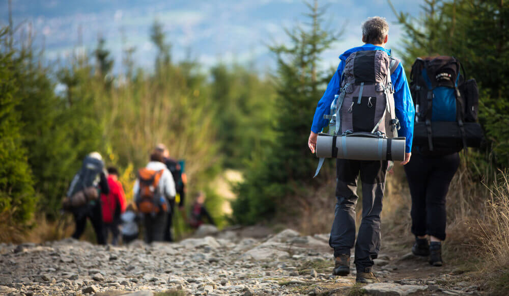 Group of hikers going for a 3-day mountain hiking trip.