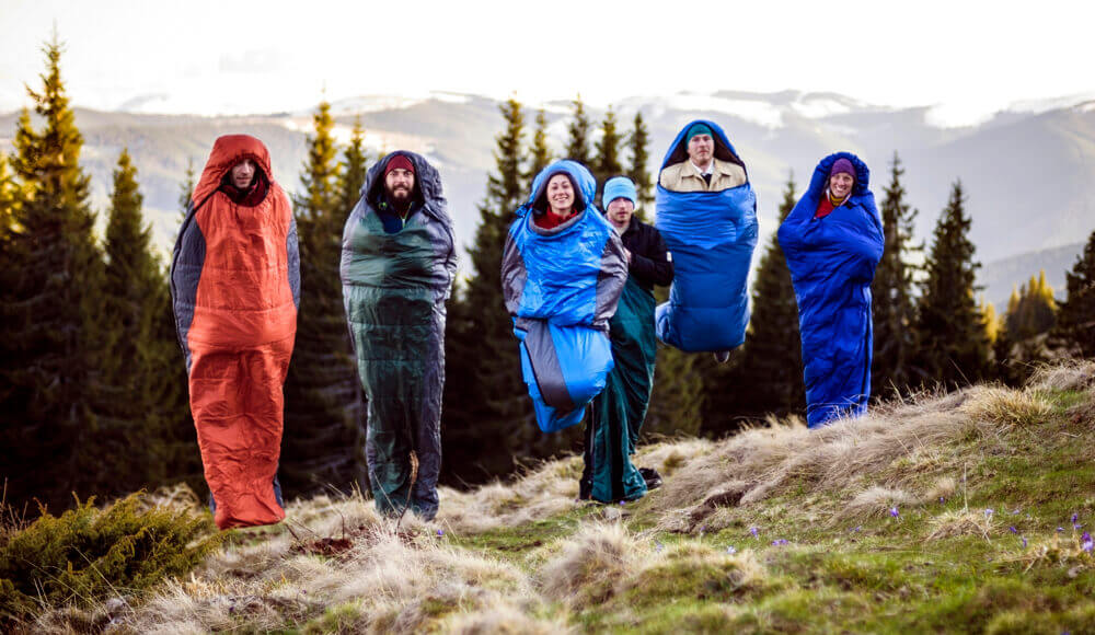 Overnight camping with different kinds of sleeping bags.