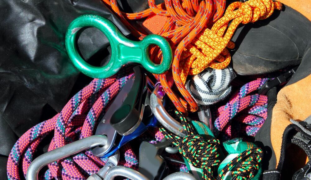 Different types and strength color codes for climbing ropes.