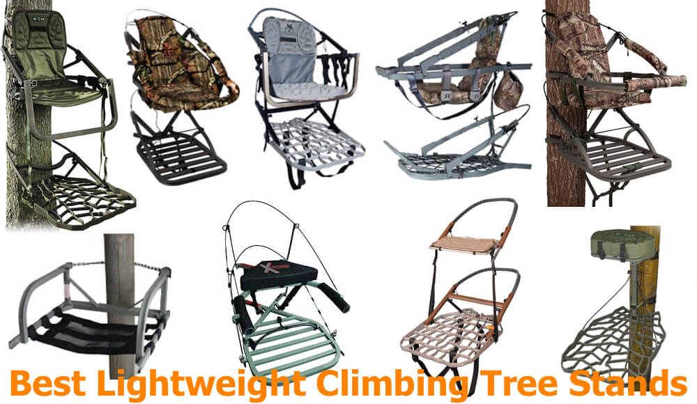 Different types and models of light and small climbing tree stands.