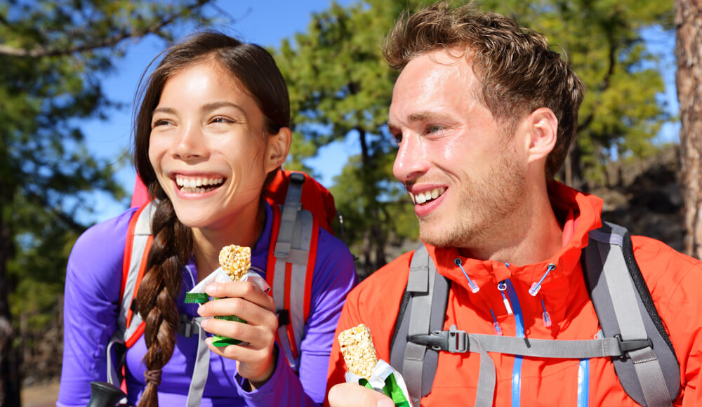 Eating food during hiking.
